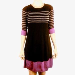 Eliza J Black Pink Color Block Striped Knit Dress